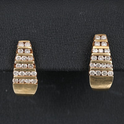 14K 1.08 CTW Multi-Row Diamond J Hoop Earrings