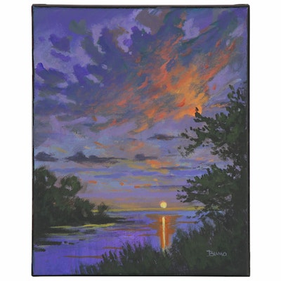 "Douglas ""Bumo"" Johnpeer Oil Painting ""Lake Sunset,"" 2020"