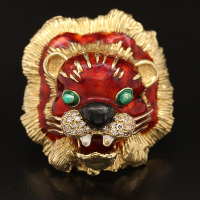 18K Diamond and Enamel Lion Head Ring