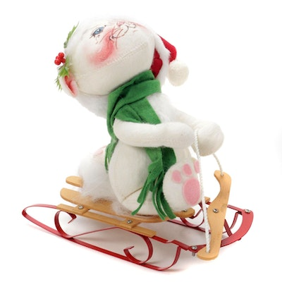 Annalee Mobilitee Christmas Cat and Sled, 1991