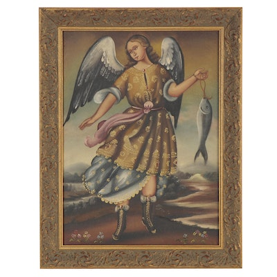 Oil Painting after Cuzco School of Archangel Raphael, Late 20th Century