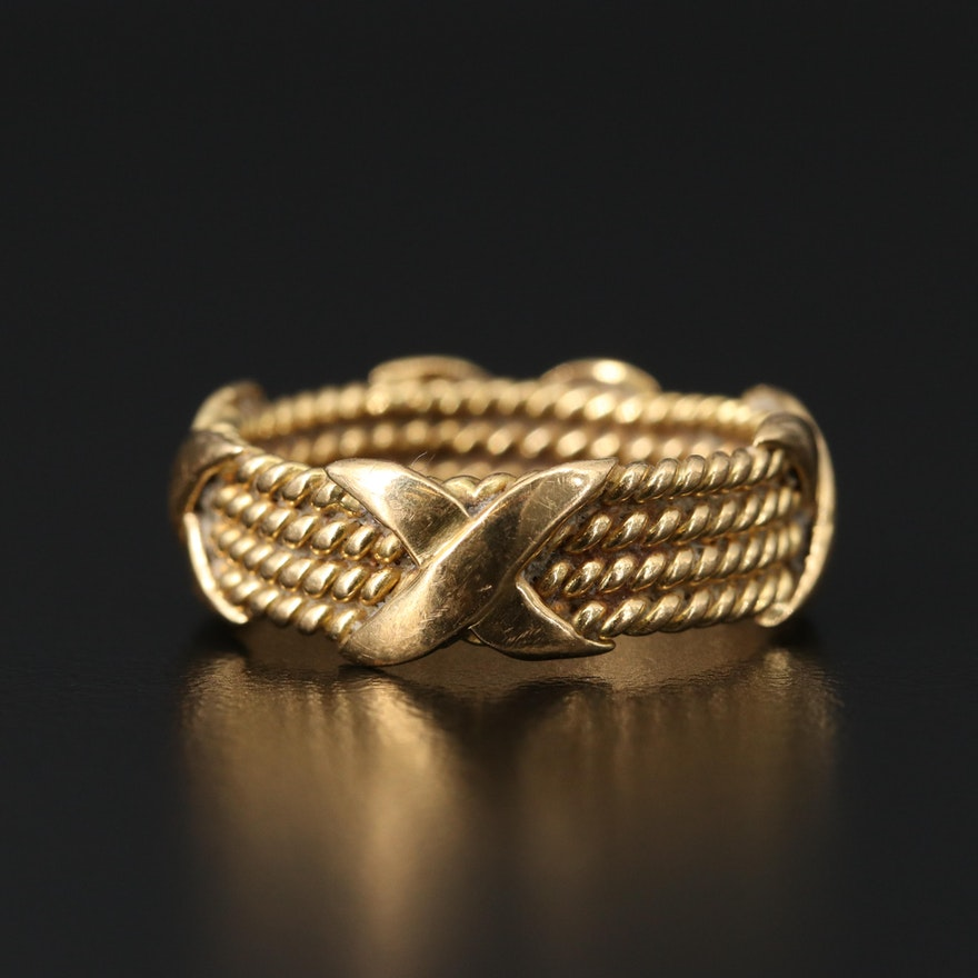 18K Multi-Row Twisted Rope Band with Crossover Accents