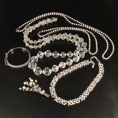 Rhinestone and Faux Pearl Jewelry Selection Including Rivière Necklace