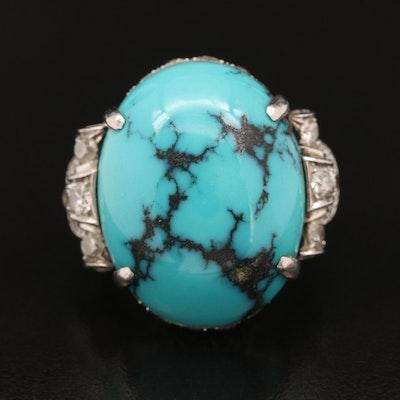 Art Deco Platinum Turquoise and 1.97 CTW Diamond Ring