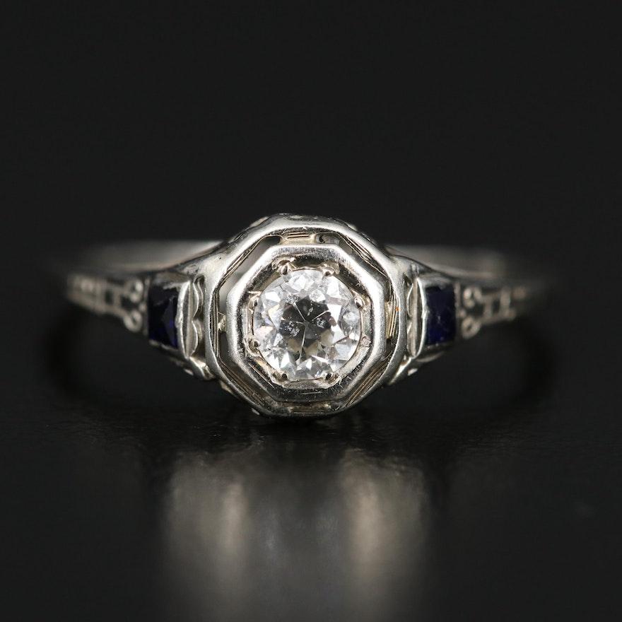 Art Deco 18K Diamond and Sapphire Ring