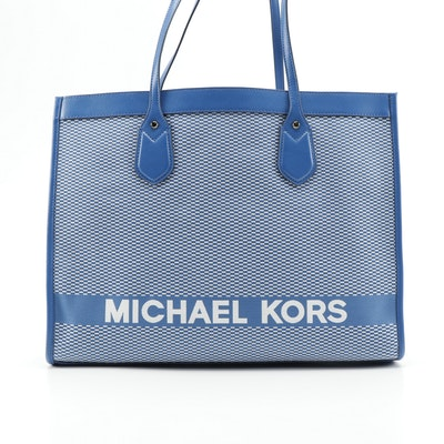 Michael Kors Blue and White Canvas and Leather Tote