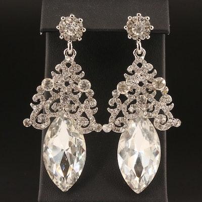 Rhinestone Navette Chandelier Earrings