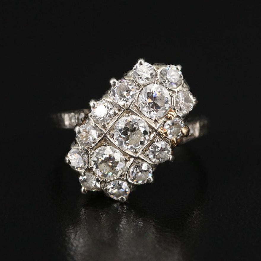 1930s 18K 1.45 CTW Diamond Cluster Ring