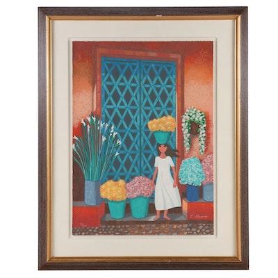 "Trinidad Osorio Serigraph ""Puerta Azul,"" Late 20th Century"