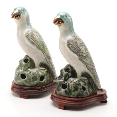 Pair of Chinese Ceramic Parrot Roof Tiles on Wooden Stands, Late 20th Century