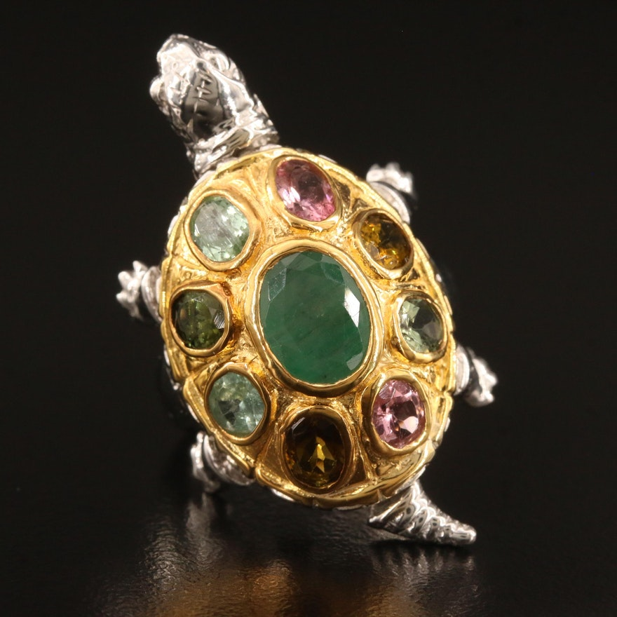 Sterling Silver Beryl and Tourmaline Articulated Turtle Ring