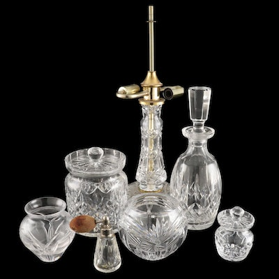 Crystal Vases, Table Lamp, Bowls and Bottles Including Waterford and Atlantis
