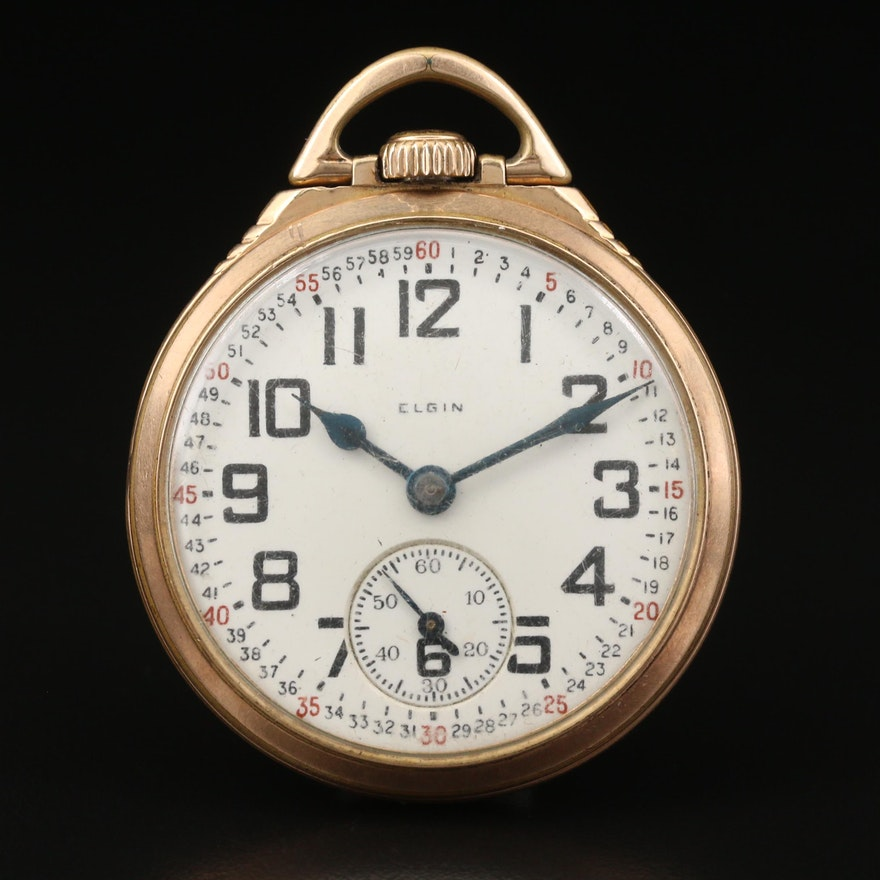 1928 Elgin B.W. Raymond Gold Filled Montgomery Dial Pocket Watch