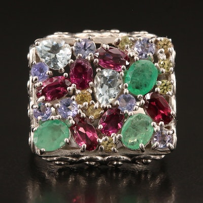 Sterling Silver Emerald, Tanzanite, Garnet and Sapphire Cushion Ring