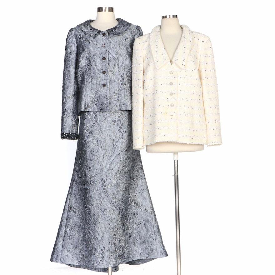 Peggy Jennings Full-Length Evening Skirt Set and Embellished Tweed Jacket
