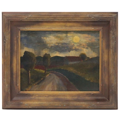 Country Road Landscape Oil Painting, Early 20th Century
