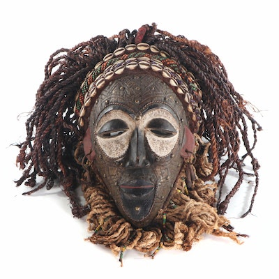 Chokwe Style Embellished Carved Wood Mask, Central Africa