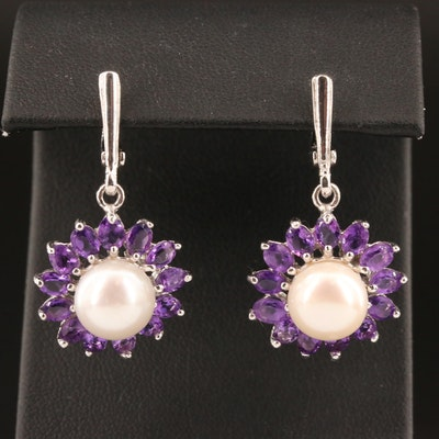 Sterling Pearl and Amethyst Flower Dangle Earrings
