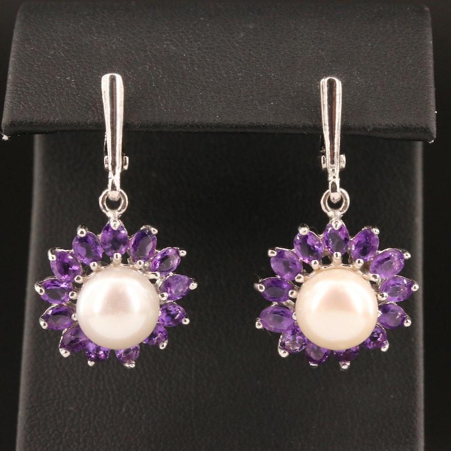 Sterling Pearl and Amethyst Flower Dangle Earrings