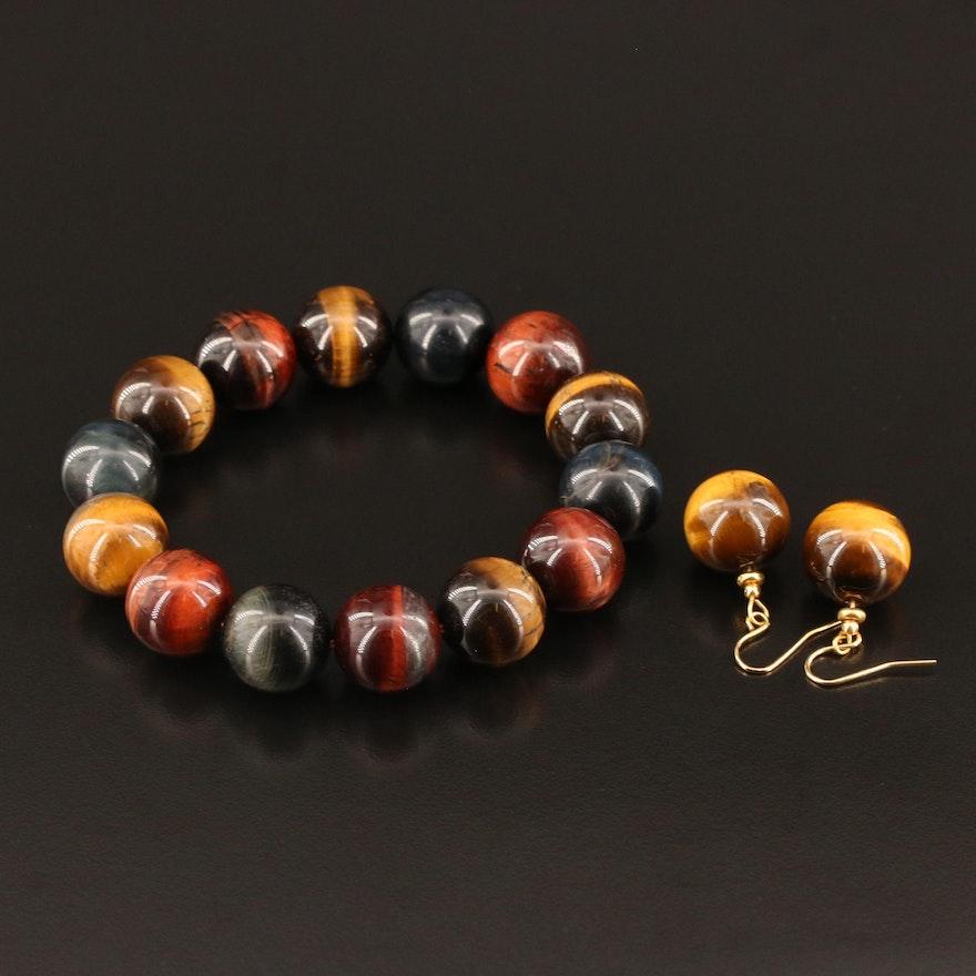 Tiger's Eye Bead Earrings and Stretch Bracelet