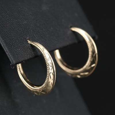 14K Patterned Hoop Earrings