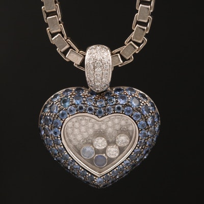 "Chopard 18K ""Happy"" Diamond and Sapphire Heart Pendant Necklace"
