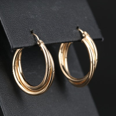 10K Crossover Hoop Earrings