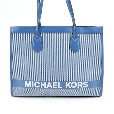 MICHAEL Michael Kors Bay Collection Blue Canvas/Leather Tote with Logo Lettering