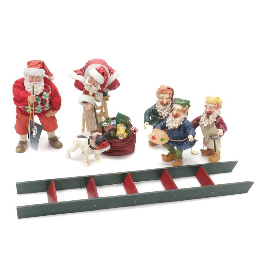 Possible Dreams Clothtique Santa and Elf Figurines