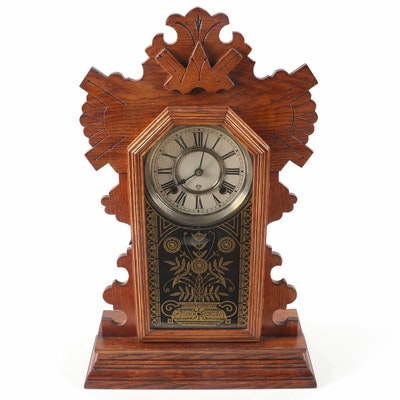 Ansonia Oak Gingerbread Mantel Clock, Early 20th Century