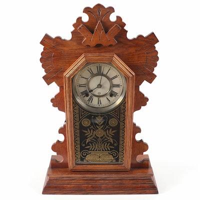 Ansonia Oak Gingerbread Mantel Clock, Early 20th Century