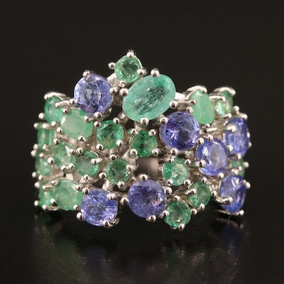 Sterling Silver Emerald and Tanzanite Cluster Ring