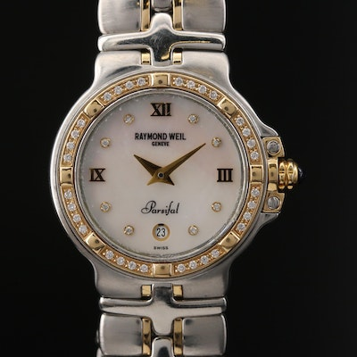 Raymond Weil Diamond Parsifal 18K Gold and Stainless Steel Quartz Wristwatch