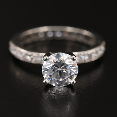 Platinum Diamond Semi-Mount Ring with Swarovski Cubic Zirconia Center