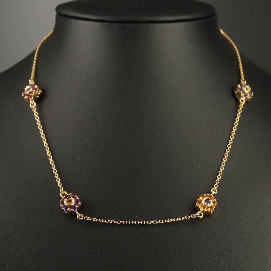 Italian Pasquale Bruni 18K Gemstone Floral Station Necklace