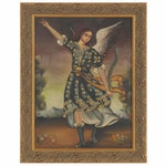 Oil Painting after Cuzco School of Archangel Michael, Late 20th Century