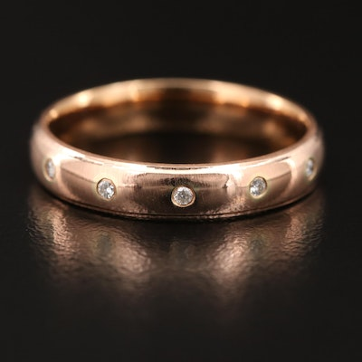14K Rose Gold Flush Set Diamond Ring