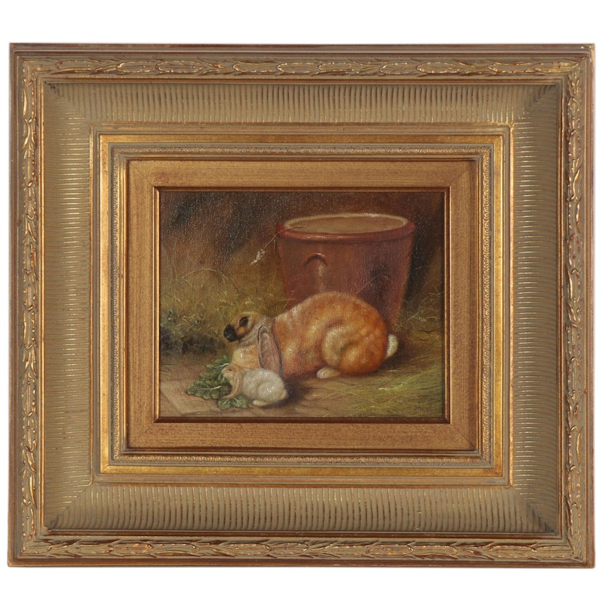 Oil Painting of Rabbits, Late 20th Century
