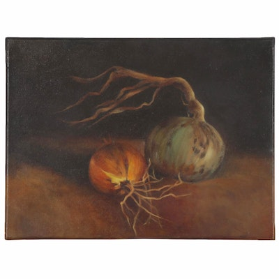 Still Life Oil painting of Onions, 21st Century