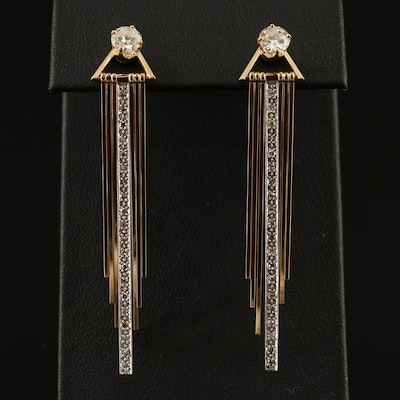 14K 1.37 CTW Diamond Stud Earrings and Fringed Jackets