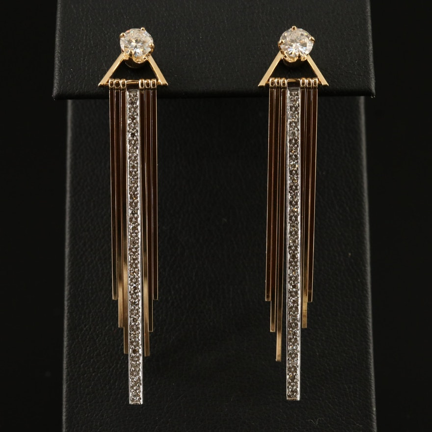 14K 1.37 CTW Diamond Stud Earrings and Fringed Jackets