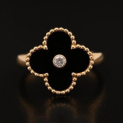 """Van Cleef & Arpels """"Alhambra"""" 18K Black Onyx and Diamond Ring"""