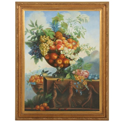Charles Gastman Still Life Oil Painting of Fruit and Flowers