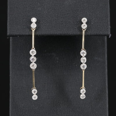 14K Two-Tone Diamond Dangle Earrings