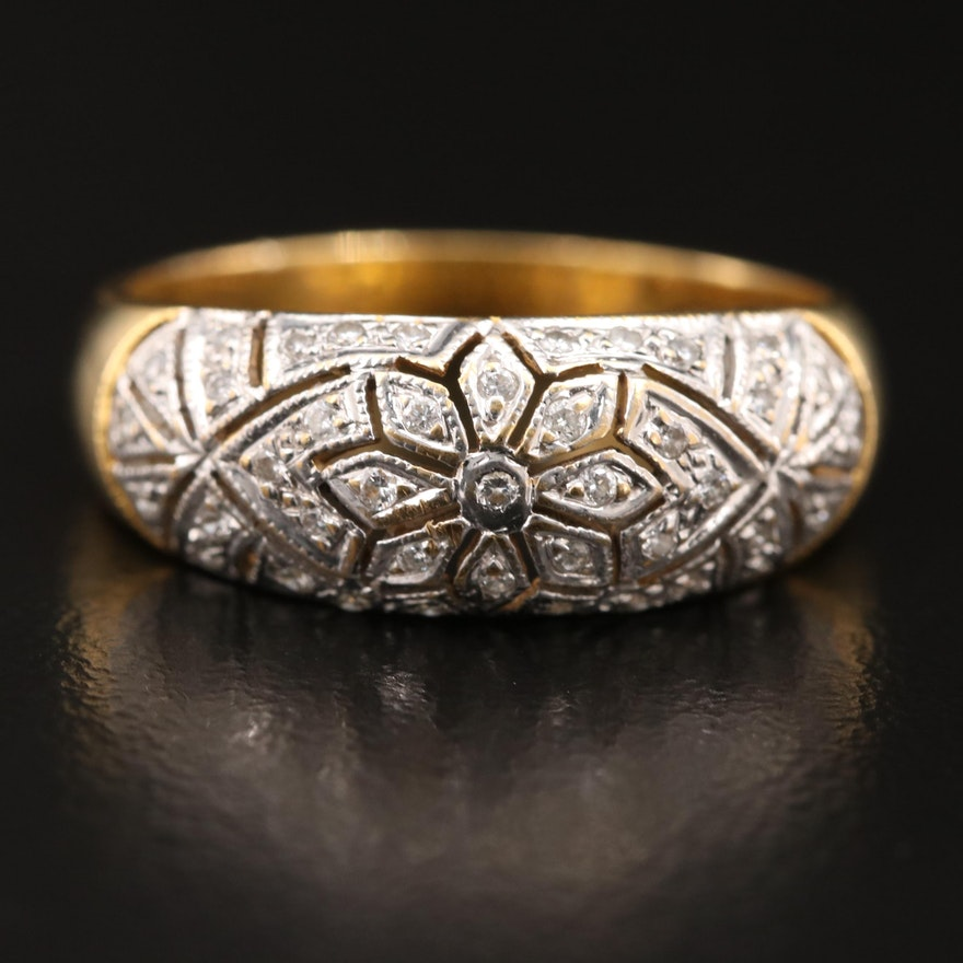 18K Diamond Flower Patterned Band
