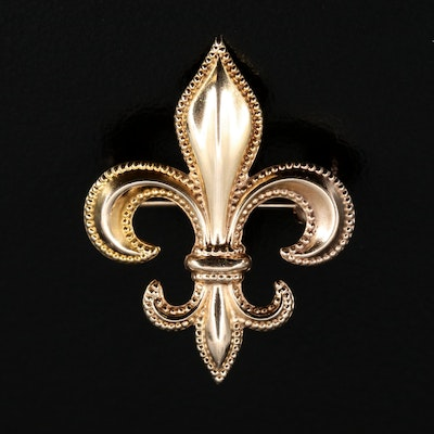 10K Fleur-de-lis Brooch with Watch Clip
