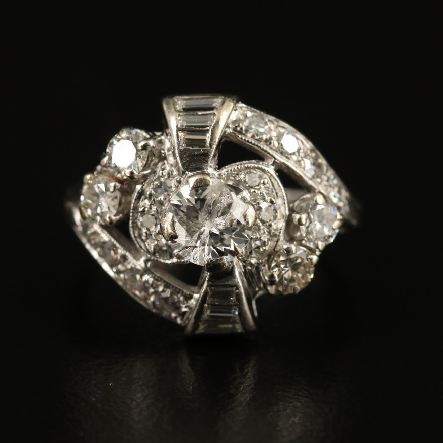 Circa 1940 14K 1.13 CTW Diamond Ring