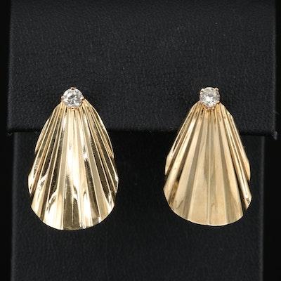 14K Diamond Stud Earrings with Pleated Fan Enhancers