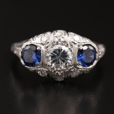 Art Deco Platinum Cubic Zirconia, Sapphire and Diamond Ring