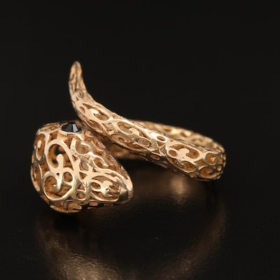 Sterling Silver Openwork Snake Bypass Ring